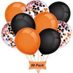 Gxhong Luftballons Orange Schwarz, 12 Zoll Halloween Luftballons, Halloween Deko Konfetti Luftballons Bunte Ballons Halloween Party Luftballons Helium Latex Luftballons (80 Stück )