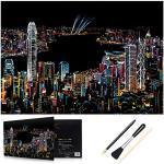 H HOMEWINS Kratzbilder 405 x 285 MM Weltberühmte Sehenswürdigkeiten Wandbild DIY Kunst Zeichnung City Night View Schwarz Beschichtet Bunte Kratzpapier mit Werkzeug Set (Hong Kong)