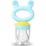 Haakaa Fruchtsauger Baby ab 4 monate Schnuller - Blau - 100% Silikon Beißring für Obst BPA Frei - Sichere Selbstfütterung
