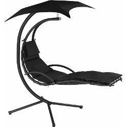 Hängeliege Kasia mit Sonnendach - Hängestuhl, Hängeschaukel, Hängekorb - schwarz