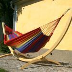Hängematte mit Gestell Siesta Grande Verano Set für zwei Personen multicolor Standard Baumwolle 245 x 160 cm