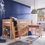 Halbhochbett mit Schreibtisch Stauraum (4-teilig)