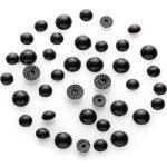 Halbperlen Tieraugen, schwarz, 4 + 5 mm, 40 Stück