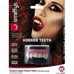 Halloween Smiffys Horror Zähne, Vampir, mit oberer Zahnreihe, Natürlich, mit Klebemasse