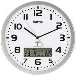 hama Funkwanduhr Extra silber 29,5 cm Kunststoff