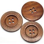 Handarbeit-Lieblingsladen 10 Stück Premium Holzknöpfe rund braun, 60mm, 4 Löcher Knopf Knöpfe