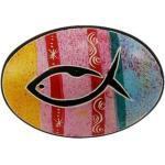 Handschmeichler bunt mit Fisch, gelb/rosa/rot/rosa/rot