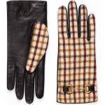 Handschuhe aus karierter Wolle und Leder