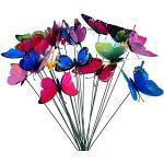 HAOXIU Schmetterlinge Deko, 10 Stück Schmetterling Stange 7 cm Garten Schmetterling Ornaments, für Garten, Terrasse, Pflanztopf, Home Dekoration
