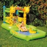 HAPPY PEOPLE Hüpfburg+Pool Giraffe mit Sprühfunktion Wasserspielzeug, Mehrfarbig