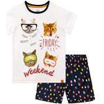 Weiße Kindernachtwäsche mit Katzenmotiv für Mädchen für den Winter