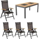 Hartman Alice/Linz Sitzgruppe Stapel 5tlg Tisch 160cm Dunkelgrau|Braun