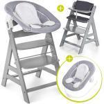 Hauck Alpha Plus Grey Newborn Set - 4-tlg. Hochstuhl + Neugeboreneneinsatz & Wippe Stretch Grey + Sitzpolster + 4,20€ Cashback auf Deine nächste Bestellung