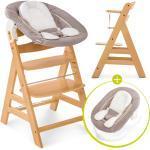 Hauck Alpha Plus Natur Newborn Set - 3-tlg. Hochstuhl + Neugeboreneneinsatz & Wippe Stretch Beige + 3,30€ Cashback auf Deine nächste Bestellung