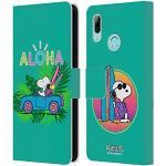Head Case Designs Offizielle Peanuts Tropischer Surf Snoopy Aloha Disco Leder Brieftaschen Handyhülle Hülle Huelle kompatibel mit Huawei P Smart (2019)