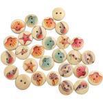 Healifty 100 Stücke Holzknöpfe Kinderknöpfe 2 Loch Knöpfe für Baby Kinder DIY Basteln Scrapbooking NähenKleidung Deko 15mm(Meerestiere)