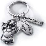Heaven and Angels Schutzengel Schlüsselanhänger mit Strassstein, eleganter Anhänger und Glücksbringer, Silber glänzend für Autofahrer, Fahranfänger und vor allem für die Menschen, die uns wichtig sind