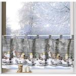 heimtexland ® Scheibengardine Weihnachten 45x120 Dekoration Fenster-Deko Weihnachts-Gardine Landhaus Hirsche Natur Typ651