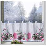 heimtexland ® Scheibengardine Weihnachten 45x120 Dekoration Fenster-Deko Weihnachts-Gardine Pink Rosa Typ651