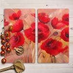 Herd-Abdeckplatte Platte aus Glas Küche 2x30x52 Gemälde Blumen Mohnblumen Kunst