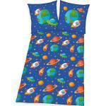 Herding Bettwäsche »Kinderbettwäsche Weltraum, 135 x 200 + 80 x 80 cm«, blau