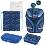 Herlitz Schulrucksack SoftFlex Plus Dino, 50025633, für Jungen, blau, 5-teiliges Set