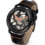 Hermann Jäckle Mechanische Uhr »Herrenuhr Skelettuhr Handaufzug Mineralglas 45 mm«, Leder schwarz/orange
