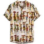 Herren Casual Button Down Hawaii Tropisches Hemd Herren Sommer Kurzarmhemd Hawaiihemd Freizeithemd Urlaub Strandhemd R, M Gelb (Hemd Oktoberfest, blaues Hemd Herren)
