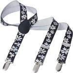 Herren Damen Long Hosenträger Y Form Style 3er Clips elastisch Schmal Unifarbe und Bunt mit verschiedenen Motiv, Mehrfarbig (4),Gr. One Size