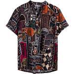 Herren Hemd Hawaiihemd Kurzarm Urlaub Freizeit Reise Shirt Strand Blumen BeiläUfige Hemden Aloha für Party Feiertag L, M Multicolor (Flamingo t-Shirt, Flamingo Geschenk)