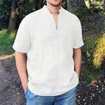 Herren Hemd Volltonfarbe Button-Down Kurzarm Normal Oberteile Leicht Freizeit Modisch Atmungsaktiv Weiß Schwarz Khaki Lightinthebox