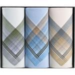 Herren-Taschentücher im 3er-Pack blau/braun-beige/grau 41x41 cm