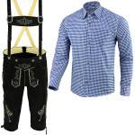 Herren Trachten Lederhose Schwarz Inkl. Hosen Träger Größe 46-62 Trachten Set Blau Hemd Neu (Hose 52 Hemd XL)