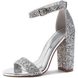 Silberne Elegante Offene Blockabsatz Damensandalen mit Riemchen in Normalweite für Partys mit Absatzhöhe über 9cm für den Sommer