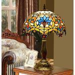 HHKQ 12-Inch Barock Europäische Tiffany Tischlampe, Vintage Nachttischlampe zum Lesen und Arbeiten, Glasmalerei Tischleuchte für Wohnzimmer Schlafzimmer, E27