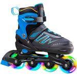 Hiboy verstellbare Inline-Skates mit Allen beleuchteten Rädern, beleuchteten Outdoor- und Indoor-Rollschuhen für Jungen, Mädchen, Anfänger,Blau,Small 31-34