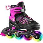 Hiboy verstellbare Inline-Skates mit Allen beleuchteten Rädern, beleuchteten Outdoor- und Indoor-Rollschuhen für Jungen, Mädchen, Anfänger,Rosa,Small 31-34