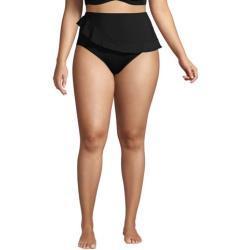 High Waist Bikinihose CHLORRESISTENT mit Volant in großen Größen, Damen, Größe: XL Plusgrößen, Schwarz, Lycra, by Lands' End, Schwarz