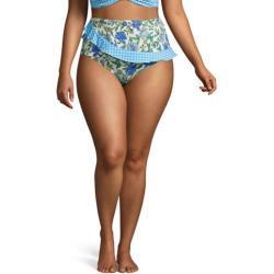 High Waist Bikinihose CHLORRESISTENT mit Volant in großen Größen, Damen, Größe: XL Plusgrößen, Sonstige, Lycra, by Lands' End, Lotus Floral/Gingham
