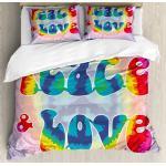 Hippie Bettwäsche Set Jugend-Friedensliebe-Bindungs-Färbung