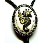 Hippocampus Bolo Krawatte, Einzigartige Seepferdchen Herren Geburtstagsgeschenk, Große Silber Mode Schmuck, Geschenk-Box, Schnur Anhänger