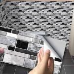 Hiser Küchenrückwand Fliesenaufkleber, Klassischer 3D-Marmorstil Wasserdicht Ölfest Stickerfliesen Deko Selbstklebende für Küche Badezimmer Wohnzimmer Dekoration (Achat schwarz,54 Stück)