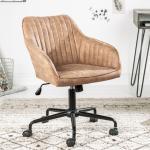 Höhenverstellbarer Bürostuhl TURIN vintage taupe Drehstuhl Schreibtischstuhl