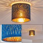 hofstein Deckenleuchte »»Arcade« runde Deckenlampe aus Metall/Samt in Nickel-matt/Blau/Gold, Ø 20 cm, 1-flammig, 1 x E27 max. 40 Watt