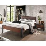 Hohes Bett in Dunkelgrau und Altholz Optik Loft Design (2-teilig)