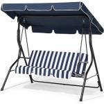 Hollywoodschaukel blau/weiß Stahl Sonnendach verstellbar Outdoor Terrasse