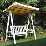 Hollywoodschaukel Weiß Grau Gartenschaukel Hängeschaukel Schaukelbank Holz Dach