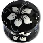 Holz Plug Hawaii Blume Weiß Schwarz Teakholz Handbemalt