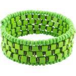 Holzarmreif Armreif Holzarmband Armband Holz Damen Schmuck Holzperlen Perlen Spirale Grün Rund Eckig
