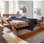 Holzbalkenbett aus Kiefer Massivholz Eiche Honigfarben